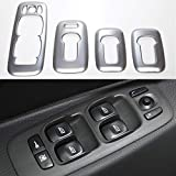 Huanlovely for car: Stainless Steel Car Interior Door Armrest Window Switch Buttons Cover Trim for Volvo XC90 2002-2014 Accessories Car Styling