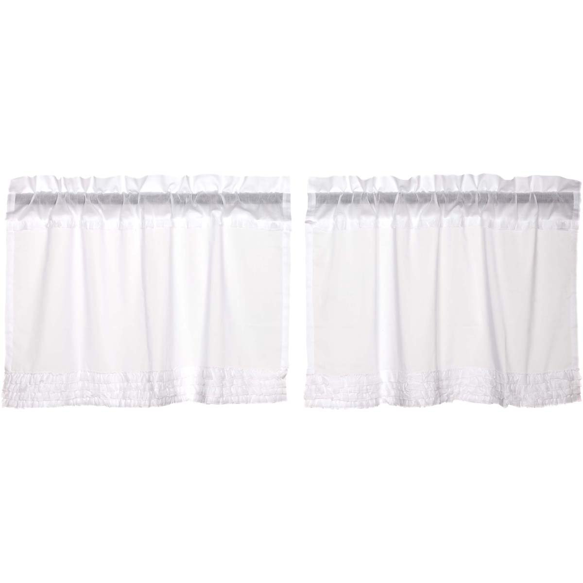 10933 VHC Brands Classic Country Farmhouse Kitchen Window Curtains Ruffled Sheer White Tier Pair L24 x W36 VHC Brands Inc