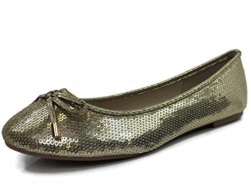- Womens Crystal Rhinestone Coverered Ballet Flats Slip On Karra-51, Champagne, 8