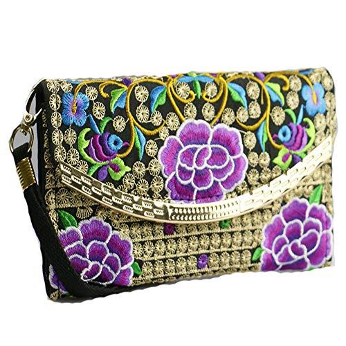 Pièce verso recto broderie Handmade Purple1 de Bag Purse Women R7RBCS