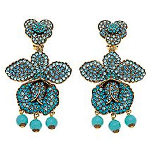 Heidi Daus SWAROVSKI Crystal Orchid Drop Clip Earrings ~ Brazilian Beauties