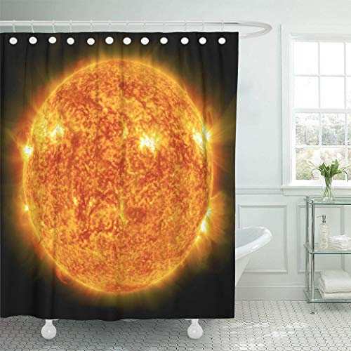 Ladble Waterproof Shower Curtain Curtains Orange Space Sun Global Warming Collage from Images NASA Gov Red Solar Flare 72