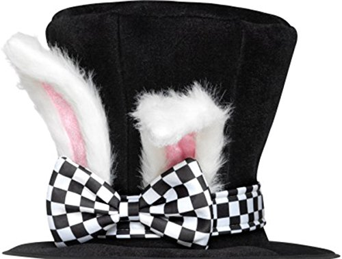 March Hare Costume Male (Tea Party March Hare Top Hat With Attached Rabbit Ears Black & White Pack Of 3)