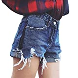 Harmily Tee Women Tassel Ripped High Waist Shorts Button Pockets Denim Slim Short Jeans