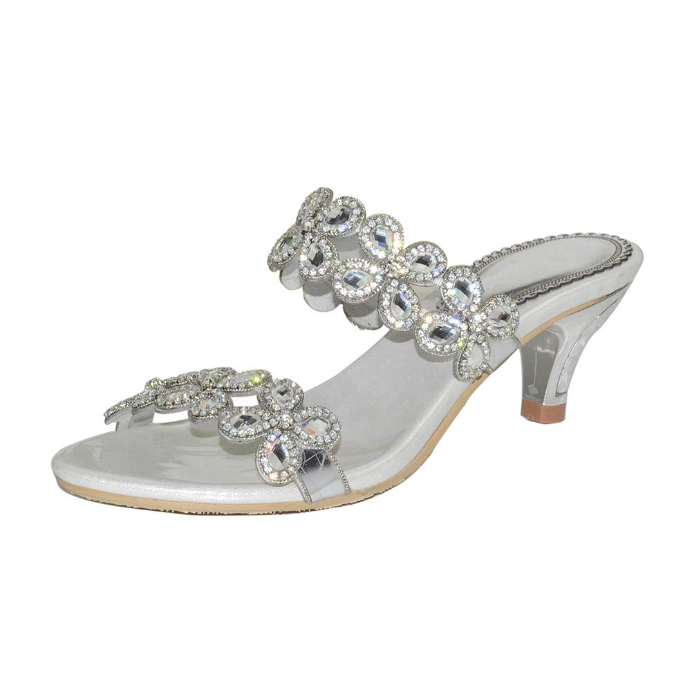 Silver Women's Rome Low-Heeled Open Toe Slippers Shining Rhinestone Flower Decoration High Heel Slippers Party Dress Sandals
