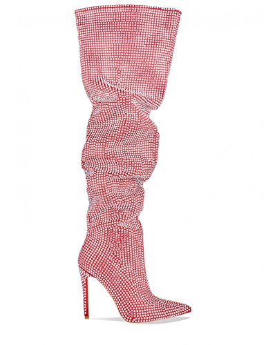 LAMODA Womens Diamante Embellished Thigh High Slouch Boots in Faux Suede Red