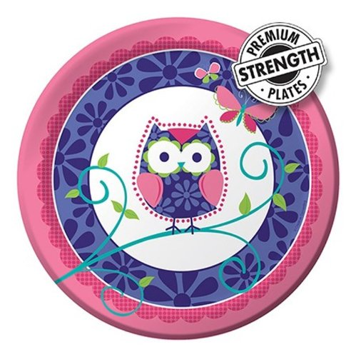 8-Count Round Paper Dinner Plates, Owl Pal]()