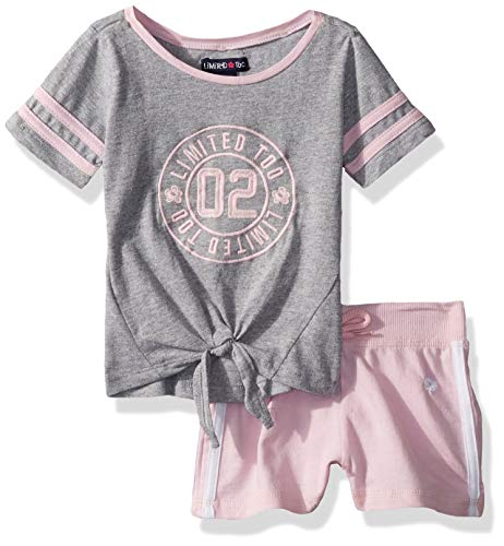 Limited Too Girls' Little Sleeve Varsity T-Shirt and Pull-On Short Set, Heather Grey 5 ()