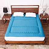 Japanese Style Breathable Tatami Mattress, Foldable Hypoallergenic Futon Mattress Ultra Soft Mattress Pad Fiber Mattress Topper Home-Blue 90x200cm(35x79inch)