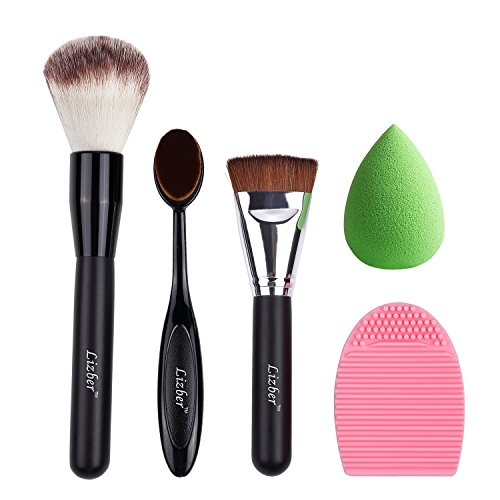 Makeup Brush, Oval Toothbrush Curve Foundation Brush, Flat Contour Makeup Brush, Brush Cleaner Washing Brush Glove Scrubber Board, Flawless Cosmetic Sponge Puff - 5 PCS Makeup Tools By Lizber (Halloween Makeup T)