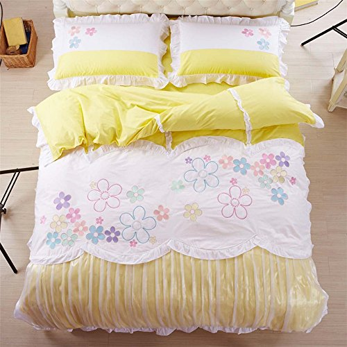 (Auvoau Home Decoration Fairy Floarl Sheet Sets Carousel Bedding Sets Lace Ruffle Romantic Girl's Duvet Cover Set Bedding Set for Teen Girls Full and Queen Size (Full, 1))