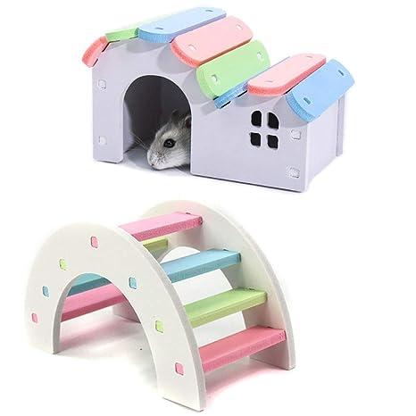 Amazon.com: PIVBY Hamster Hideout Casa de madera, puente de ...