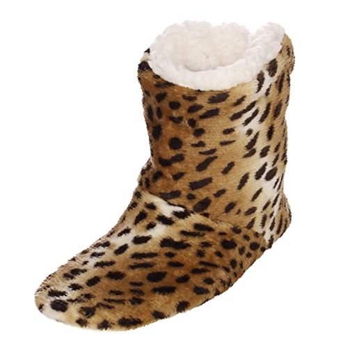 Emmalise Womens Slipper Boots Indoor Lounge Fur Shoes Fur Boots for women Animal Print Camel 5kcvT