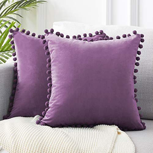 Top Finel Square Decorative Throw Pillow Covers Soft Velvet Outdoor Cushion Covers 18 X 18 with Balls for Sofa Bed, Set of 2, Purple (Plum Shams Pillow)