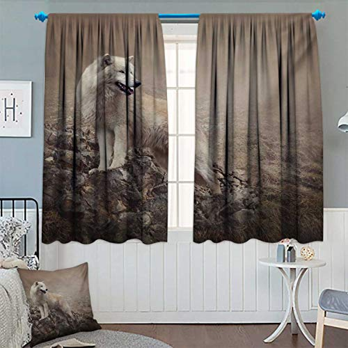 Chaneyhouse Animal Blackout Window Curtain White Wolf on
