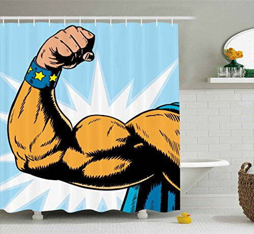 Ambesonne Comics Decor Shower Curtain, Superhero Arm Flexing Muscles Powerful Fiction Character Cartoon Graphic, Fabric Bathroom Decor Set with Hooks, 70 Inches, Merigold Blue