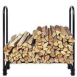 Yescom 4Ft Black Backyard Storage Series Outdoor Kitchen Firewood Log Rack Fireplace Log Carrier Holder