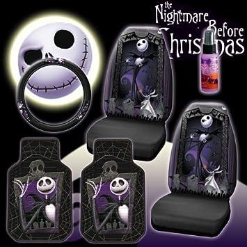 New 6 Pieces Disney Nightmare Before Christmas Jack Skellington Graveyard Car Auto Accessories Interior Combo Kit