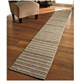 """NEW 20"""" X 120"""" Sand Colored Striped Extra Long Nonslip Floor Runner Rug *MADE IN USA*"""