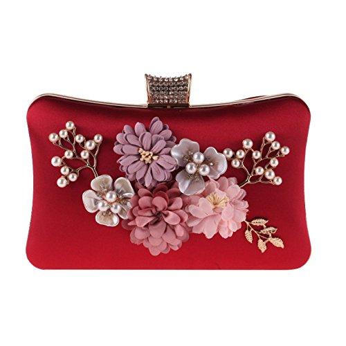 Perla Poliéster Vestido De Mujer Fiesta Bolso Women's Pequeña Bag Noche Flores Zll Red Embrague 7YSaSw