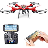 Holy Stone HS130 Wifi FPV Drone with Adjustable HD Video Camera RC Quadcopter with Altitude Hold, App Control,3D VR Headset Compatible, RTF and Easy to Fly for Beginner and Expert, Color Red