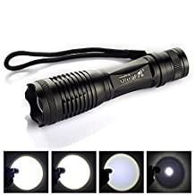 Black 2000 Lumen Zoom Cree Xm-l T6 LED Flashlight Torch Lamp Light 18650 3 AA