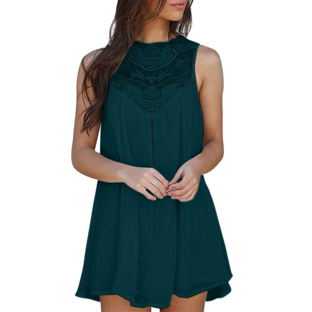 Dressin Elegant Women Casual Solid Lace Stitching O-Neck Sleeveless Chiffon Party Mini Dress Green