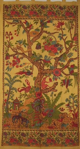 India Arts Tree of Life Tab Top Curtain-Drape-Door ()