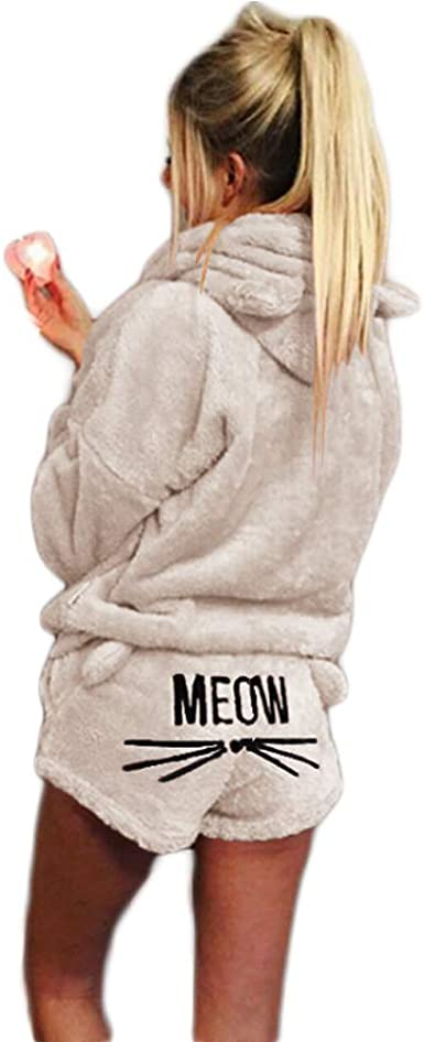 LIEBE721 Womens Fuzzy Pajamas Winter Cute Cat Embroidery Oversize Long Sleeve Shorts Two-Piece Tracksuit Suit