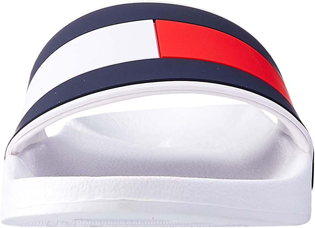 White Tommy Hilfiger Mens Essential Flag Pool Sliders