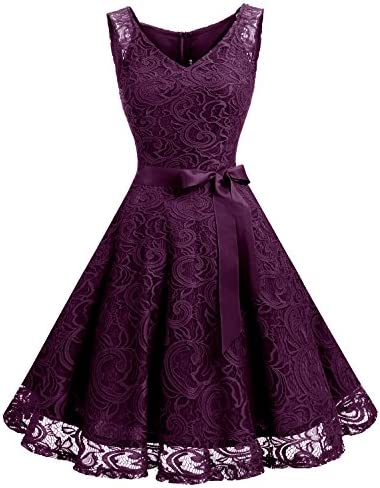 883b0799aa5 Dressystar Women Floral Lace Bridesmaid Party Dress Short Prom Dress V Neck