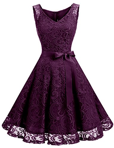 Dressystar DS0010 Floral Lace 2017 Bridesmaid Party Dress Short Prom Dress V Neck M Grape