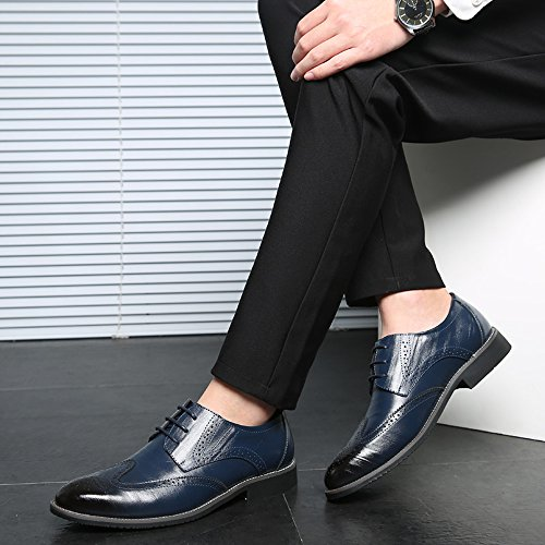 LIYZU Mens Leather Lace Up Modern Dress Oxford Shoes Blue 1 qXzKIf0