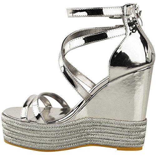 Dames D'été Pour Taille Wedge Sandales Chaussures Argent Assoiffés Or Métallique De Nouvelles Mode Espadrille Rose Travestissement Moulantes qHBx4H