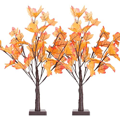"""[2-Pack] Thanksgiving Decorations Table Lights, Thanksgiving Maple Leaves Autumn Tree Decoration 24"""" 24 LED, Thanksgiving Gift, Battery Powered"""