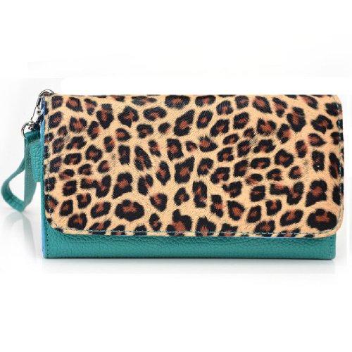 EXXIST® Metro Safari Series. Faux Leather Wallet / Clutch for Huawei A199 (Color: Leopard / Aqua Green) -ESMLMTT1