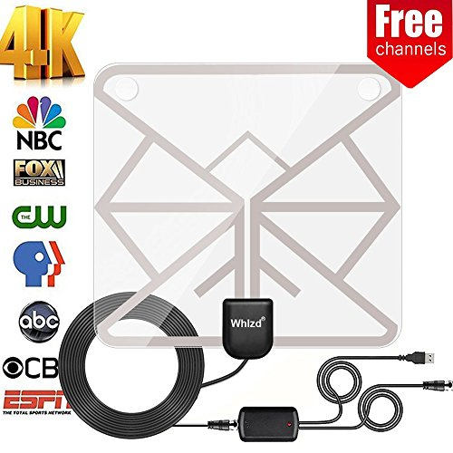 Whlzd TV Antenna, [2018 UPGRADEDHD] Digital Indoor TV Antenna 60 - 100 Mile Range - Support 4K 1080p & All Older TV's for Indoor with Powerful HDTV Amplifier Signal Booster (100 Mile Range)