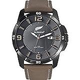 All Blacks - 680234 - Montre Homme - Quartz Analogique - Cadran Noir - Bracelet Cuir Marron
