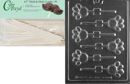 (Cybrtrayd 45St50-A135 Paw Print Lolly Animal Chocolate Candy Mold with 50 4.5-Inch Lollipop)