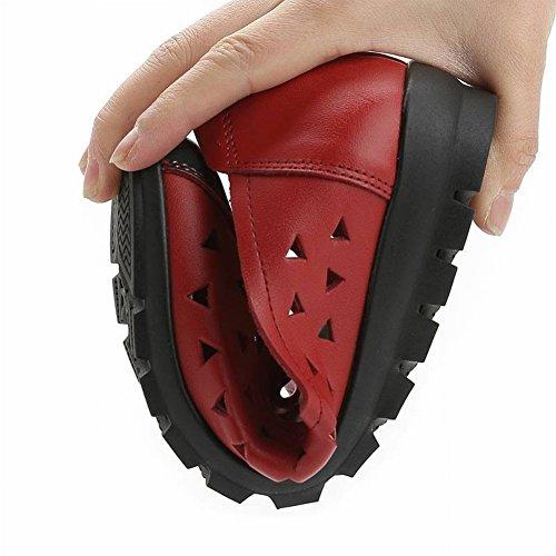 TYERY Chaussures Plat Bouche Mère Sandales Cuir Noir Vieux Milieu Fleurs Non Femmes en Femmes Creux ans Sandales Et Profonde Peu Slip 00gwxAq