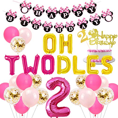 Oh Twodles Birthday (JOYMEMO 2nd Birthday Decorations Themed of Minnie Mouse for Girls, Oh Twodles Number 2 Foil Balloon, Happy Birthday Banner and Minnie Theme Cake Topper for Second Birthday Party)