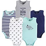 Hudson Baby Baby 5 Pack Sleeveless Cotton Bodysuits, Whale, 9-12 Months