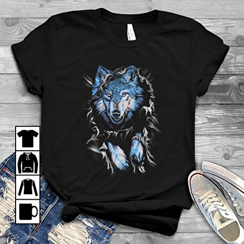 Blue Wolf Shirts T Shirt Long Sleeve Sweatshirt Hoodie -