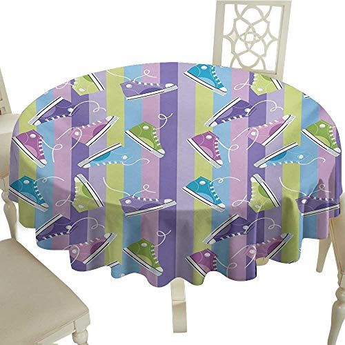 Picnic Round Tablecloth 65 Inch Retro,Different Colored Sneakers on Vertically Striped Backdrop Youth Footwear Fashion,Multicolor Great for,Wedding & More