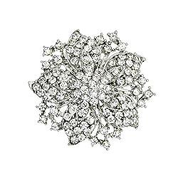 Silver Plated Rhinestone Crystal Brooch
