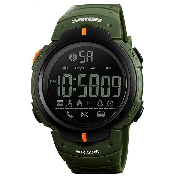 Relojes Moda Ocio Deportes Reloj electrónico Bluetooth Paso Información de fotografía Recuerda Relojes Inteligentes, Verde del ejército: Amazon.es: Relojes