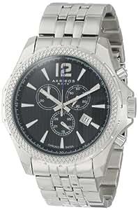 Akribos XXIV Men's AK662SSB Ultimate Swiss Quartz Chronograph Black Dial Stainless Steel Bracelet Watch