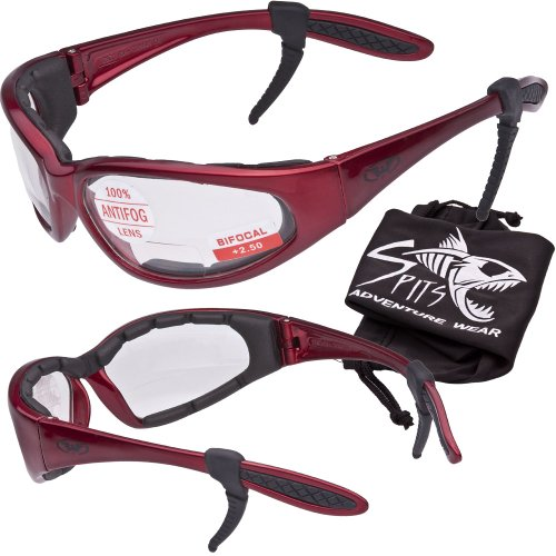 Hercules 1.50 BIFOCAL Safety Glasses - Foam Padded - Rubber Ear Locks - RED Frame - CLEAR - Oakley With Removable Sunglasses Lenses
