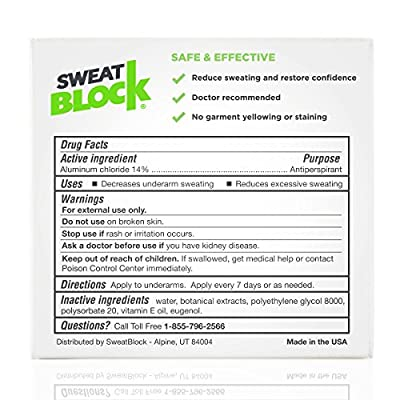 SweatBlock Antiperspirant - Clinical Strength - Reduce Sweat up to 7-days per Use