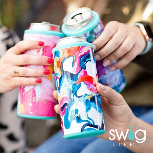 Swig Life 12oz Triple Insulated Skinny Can Cooler, Dishwasher Safe, Double Walled, Stainless Steel Slim Can Coozie for Tall Skinny Cans in Wanderlust Pattern (Multiple Patterns Available)